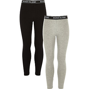 Girls RI grey and black leggings pack