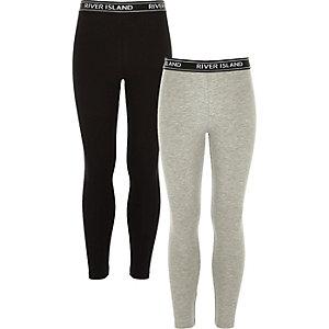 Girls RI grey and black leggings pack