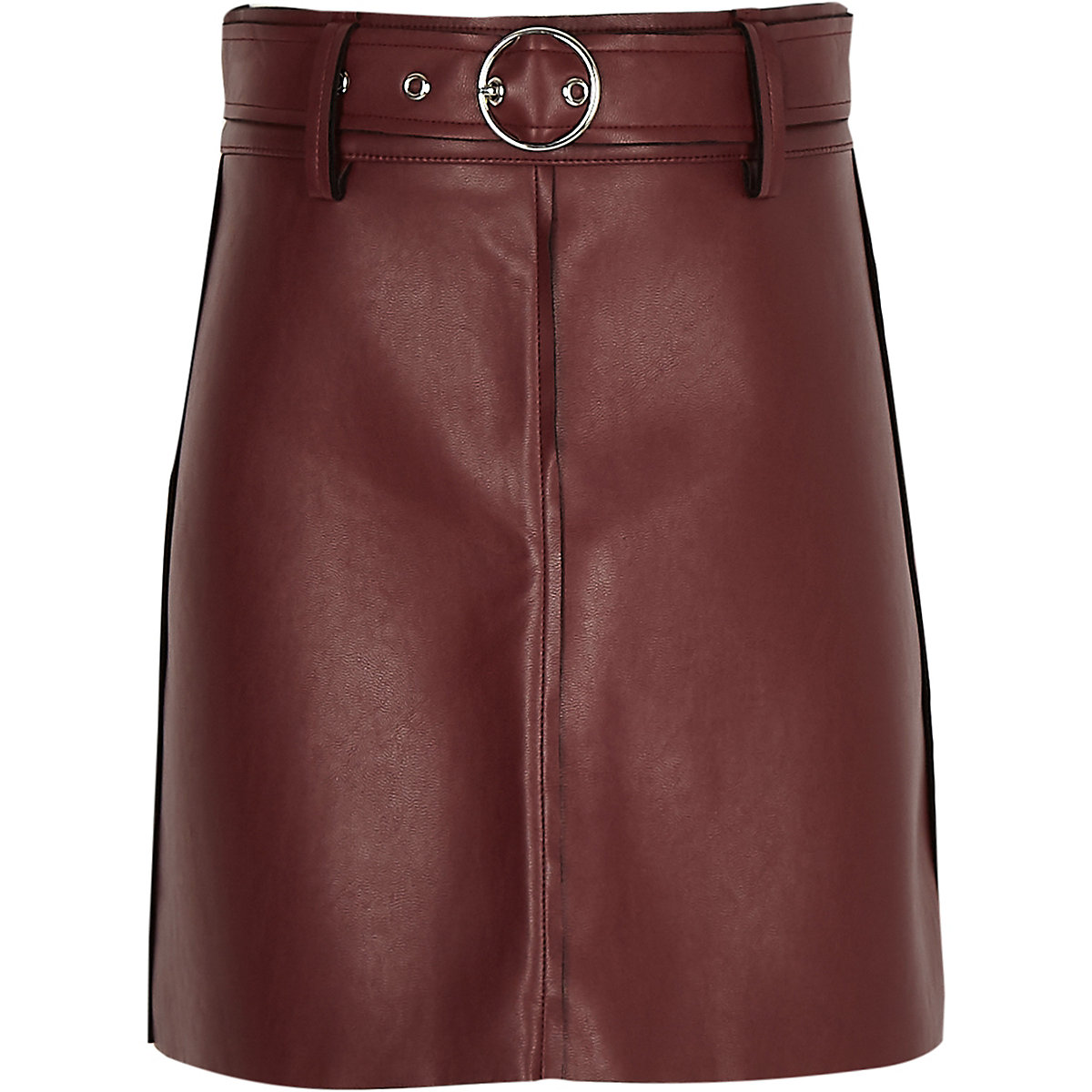 Girls dark red faux leather A line skirt