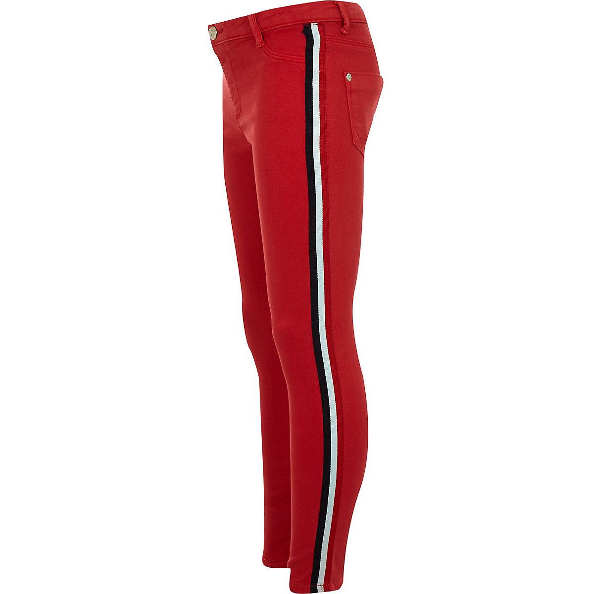 Girls red Molly side stripe jeggings