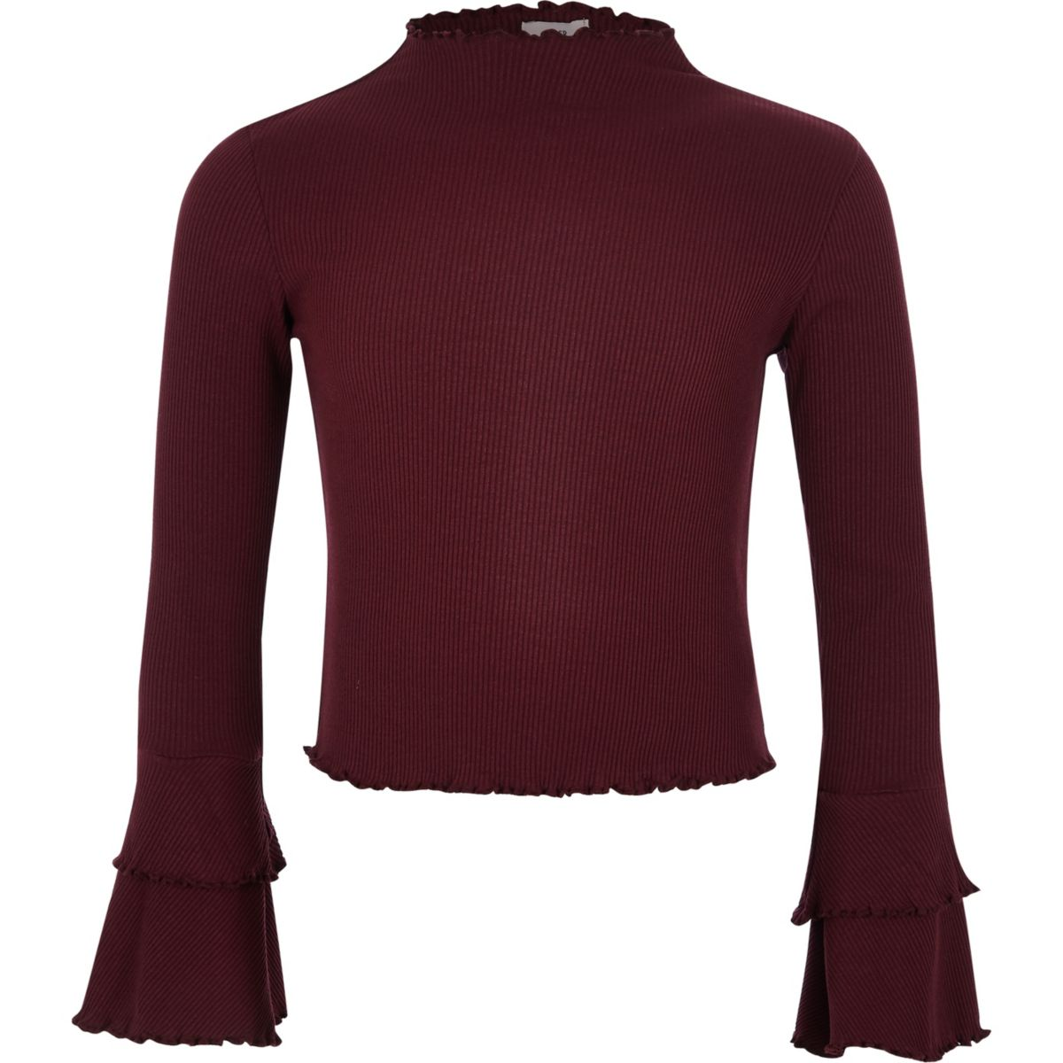 Girls dark red ribbed frill sleeve top