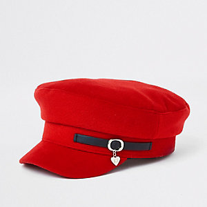 Girls red charm baker boy hat
