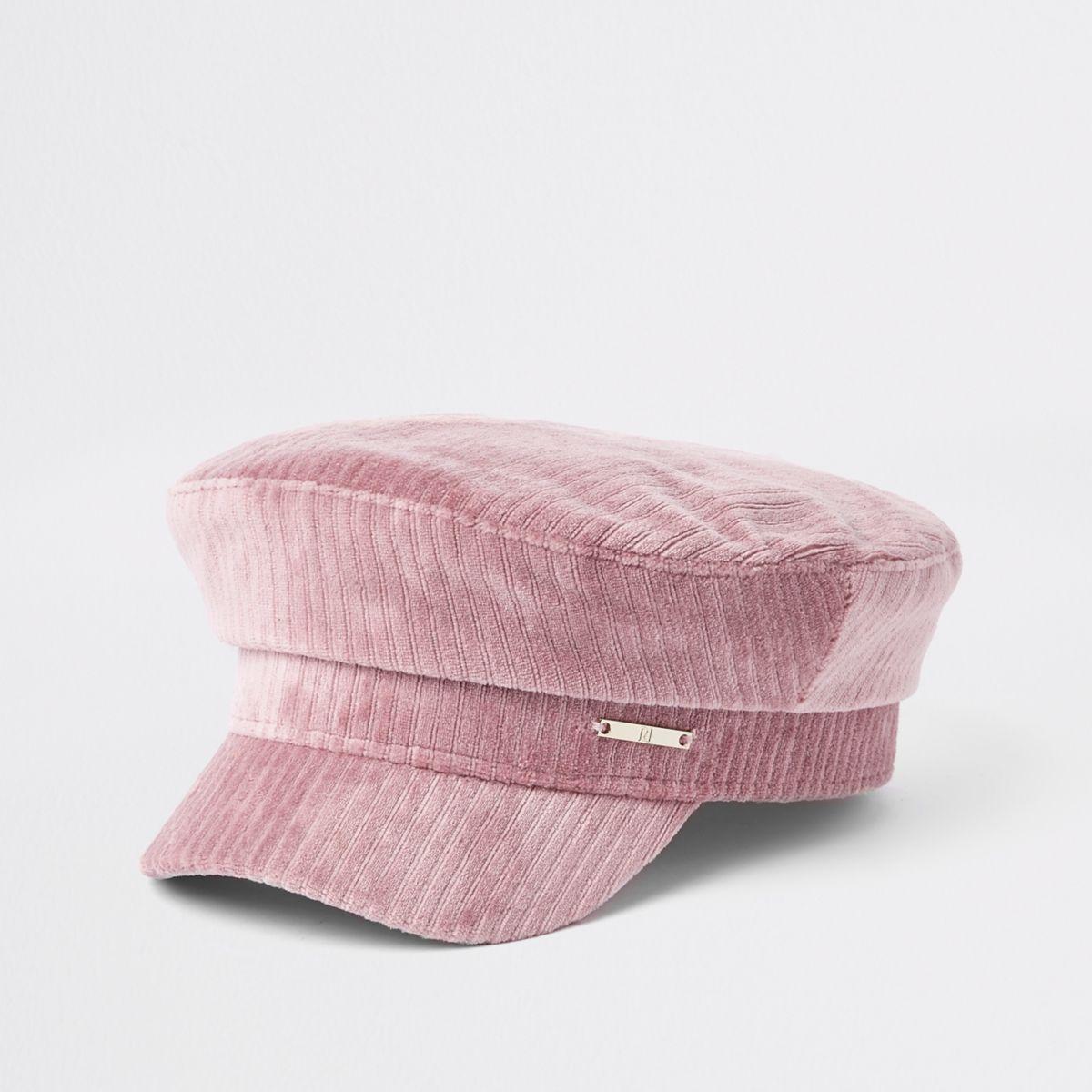 Girls pink cord baker boy hat