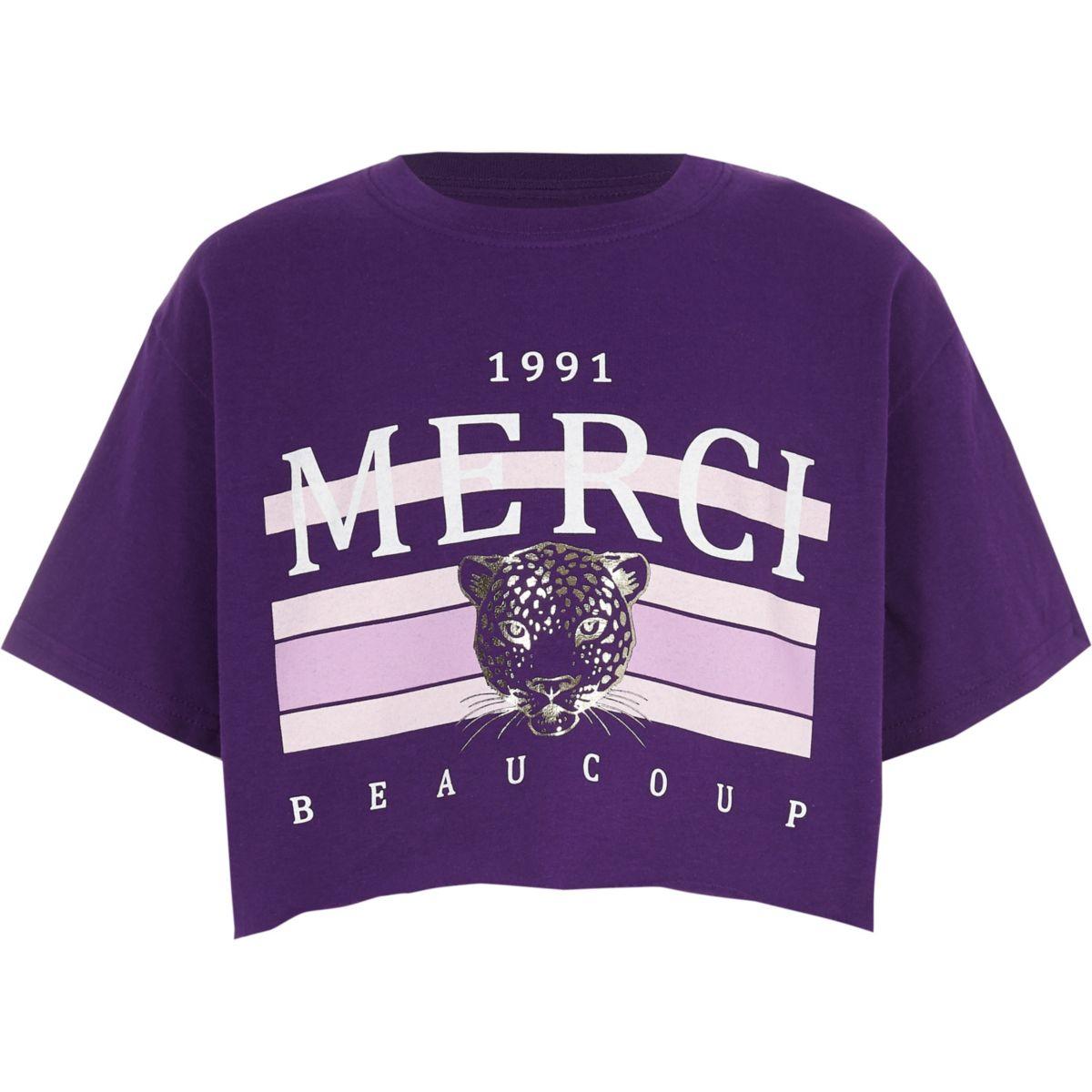 T-shirt court à imprimé « Merci » violet pour fille