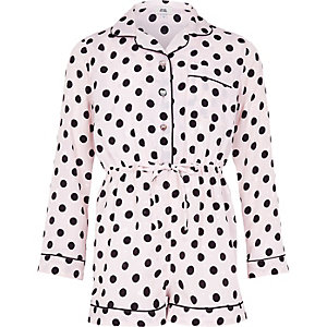 Girls pink polka dot pyjama playsuit