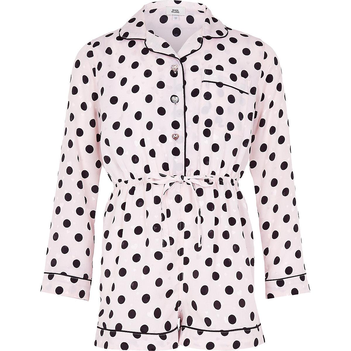 Girls pink polka dot pajama romper
