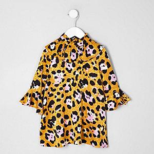Robe trapèze marron à imprimé léopard mini fille