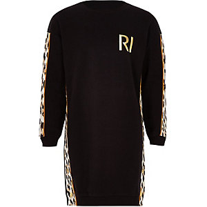 Schwarzes Pulloverkleid mit Leoparden-Print