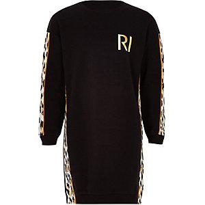 Zwarte sweaterjurk met luipaardprint voor meisjes