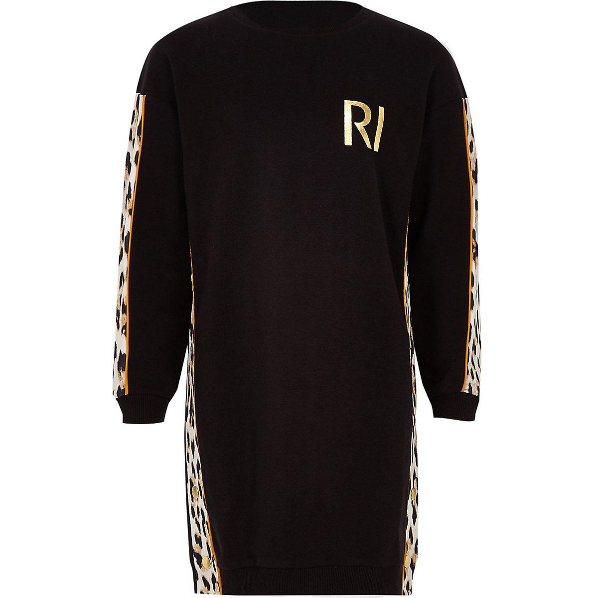 Girls black leopard print sweat dress
