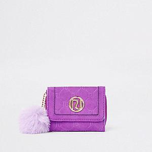 Porte-monnaie à rabats violet avec pompon en fausse fourrure pour fille