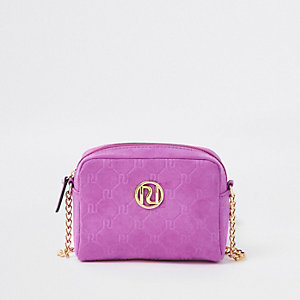 Girls purple RI monogram cross body chain bag