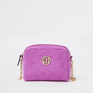 Sac bandoulière chaîne violet avec monogramme RI pour fille