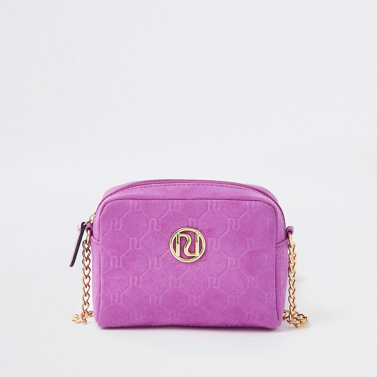 Girls purple RI monogram cross body chain bag