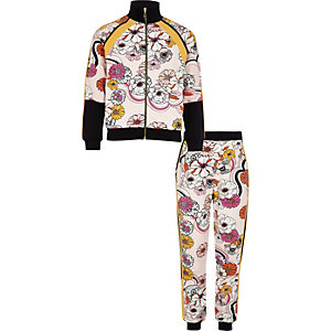 Girls pink floral tracksuit outfit