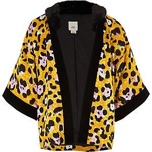 Kimono à imprimé léopard jaune et fausse fourrure fille