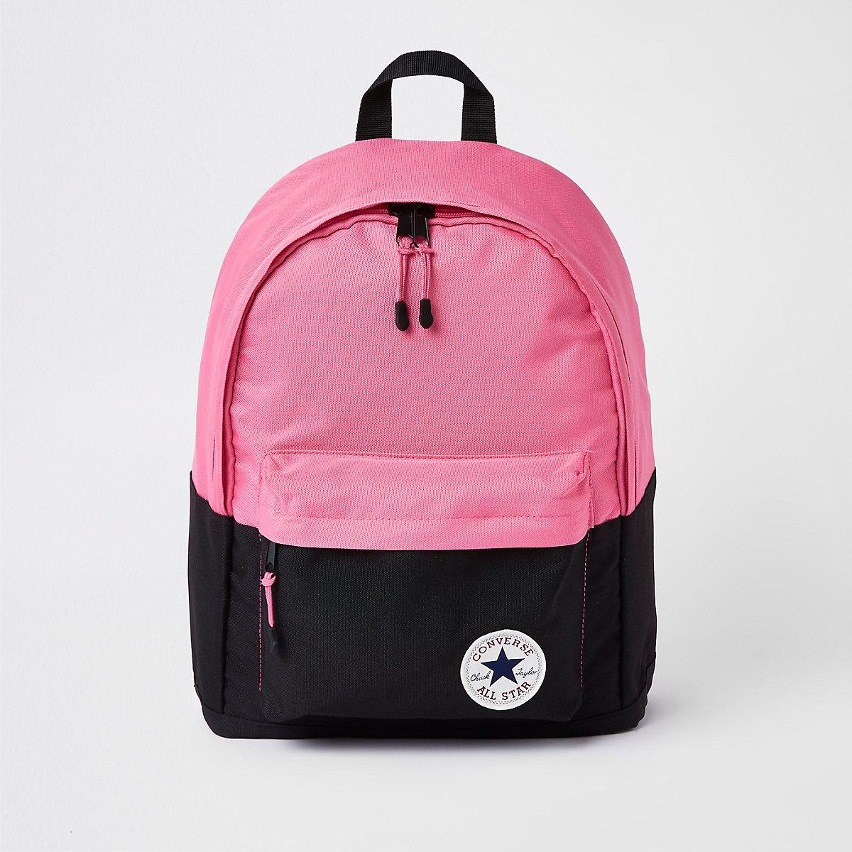 Girls black colour block Converse backpack