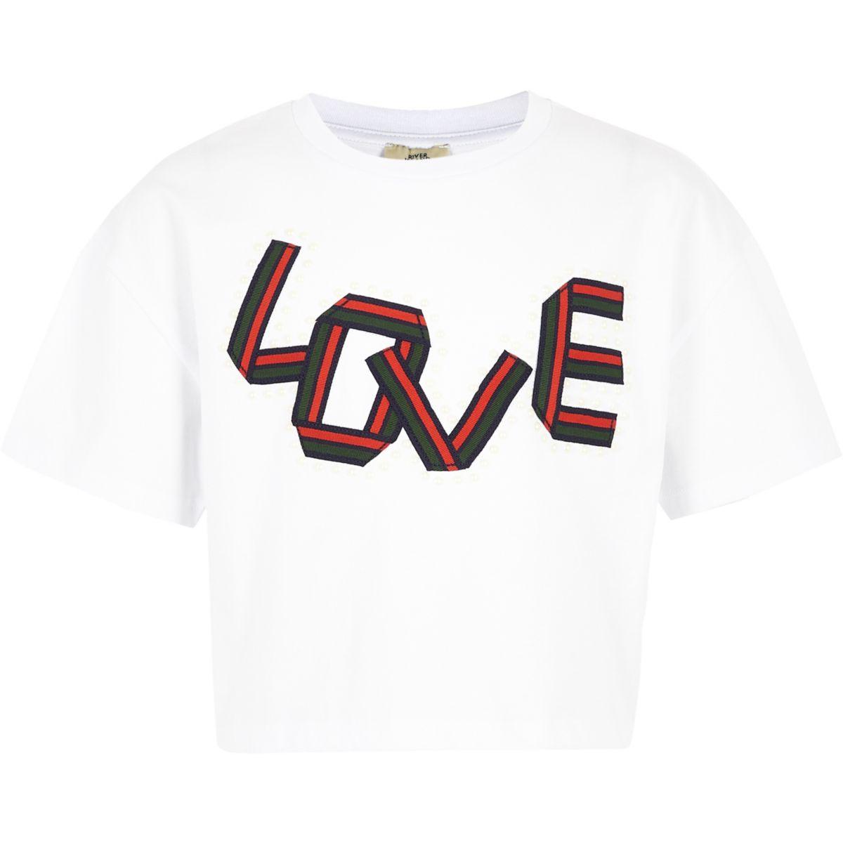 T-shirt blanc «Love» à bandes pour fille
