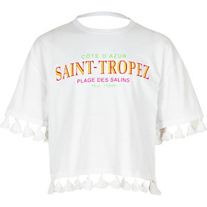 Girls white 'Saint-Tropez' tassel T-shirt