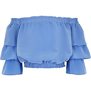 Girls blue tiered frill sleeve bardot top