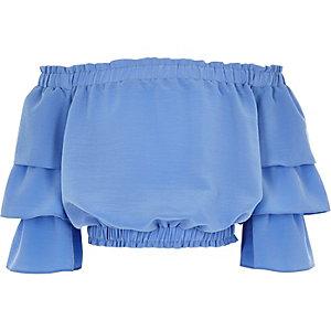 Top Bardot bleu froncé avec manches à volants fille
