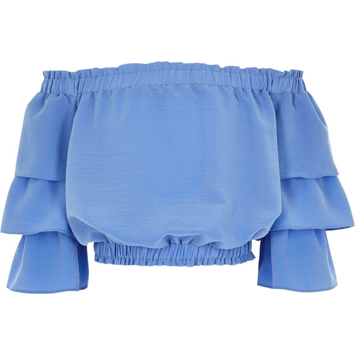Girls blue tiered frill sleeve bardot top