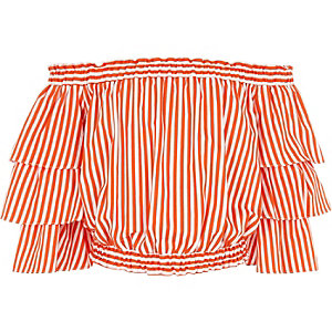 Girls orange stripe frill bardot top