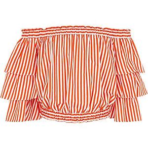 Oranje gestreepte bardottop met ruches voor meisjes