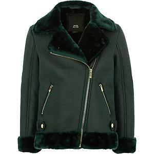 Girls green faux fur lined aviator jacket