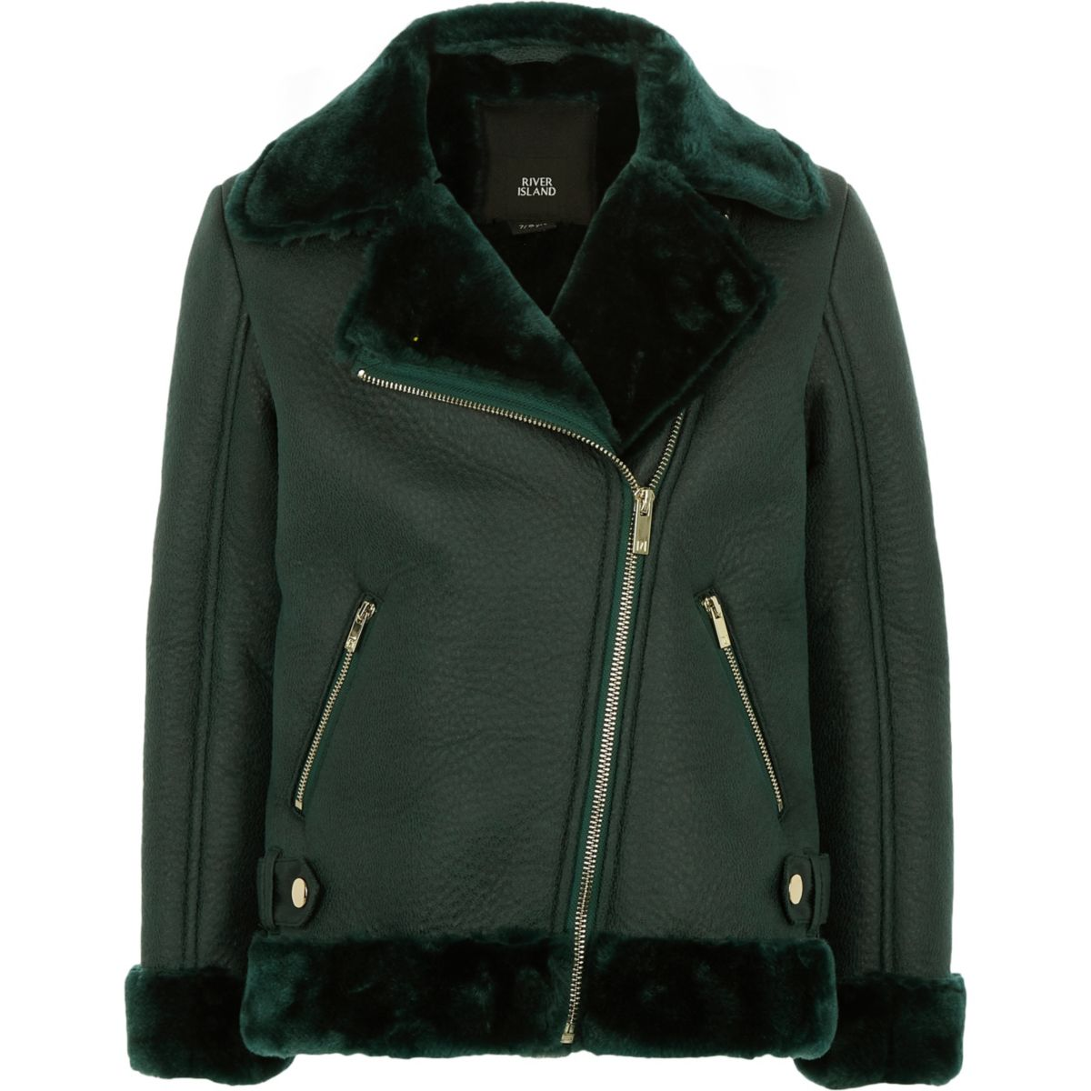 Girls green faux fur lined aviator jacket