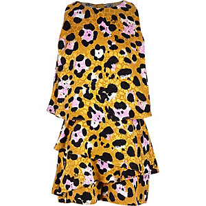 Girls brown leopard print skort playsuit