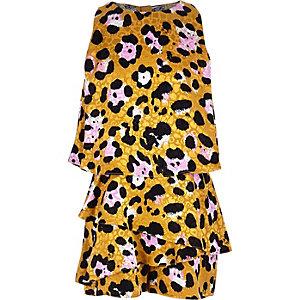 Combishort à jupe-short imprimé léopard marron pour fille