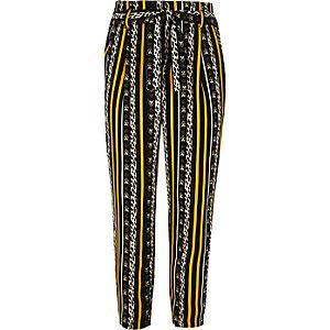 Bruine broek met luipaardprint en strikceintuur voor meisjes