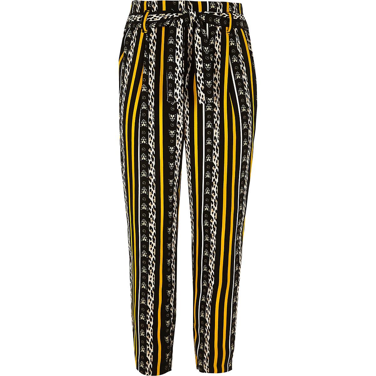 Girls brown leopard print tie waist trousers