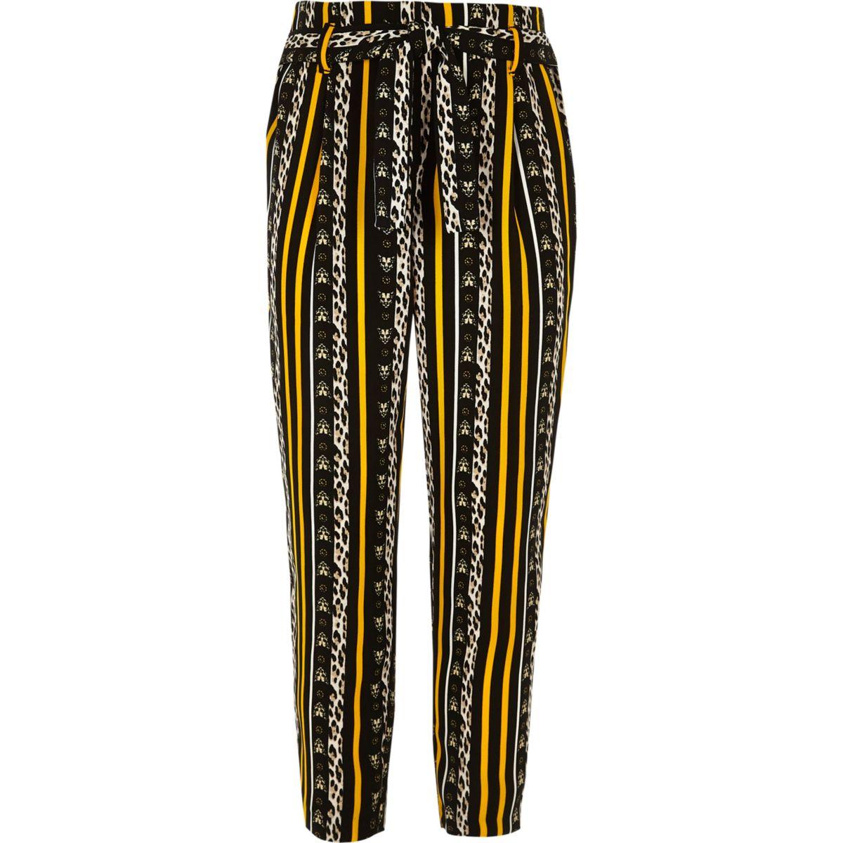 Girls brown leopard print tie waist pants