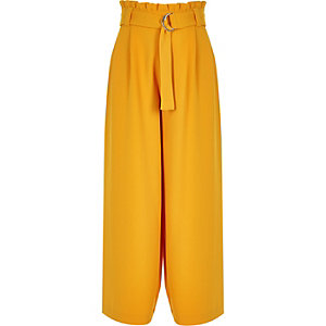 Girls yellow paperbag waist wide leg trousers