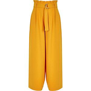 Gele broek met wijde pijpen en geplooide taille voor meisjes
