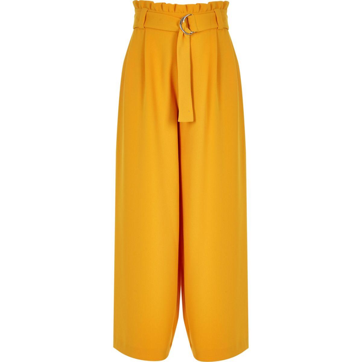 Girls yellow paperbag waist wide leg pants
