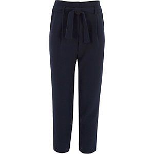 Girls navy tie front trousers