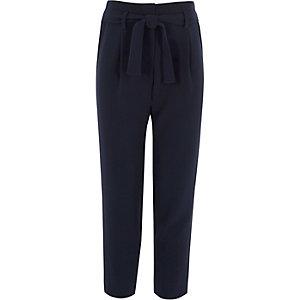 Pantalon bleu marine noué devant pour fille