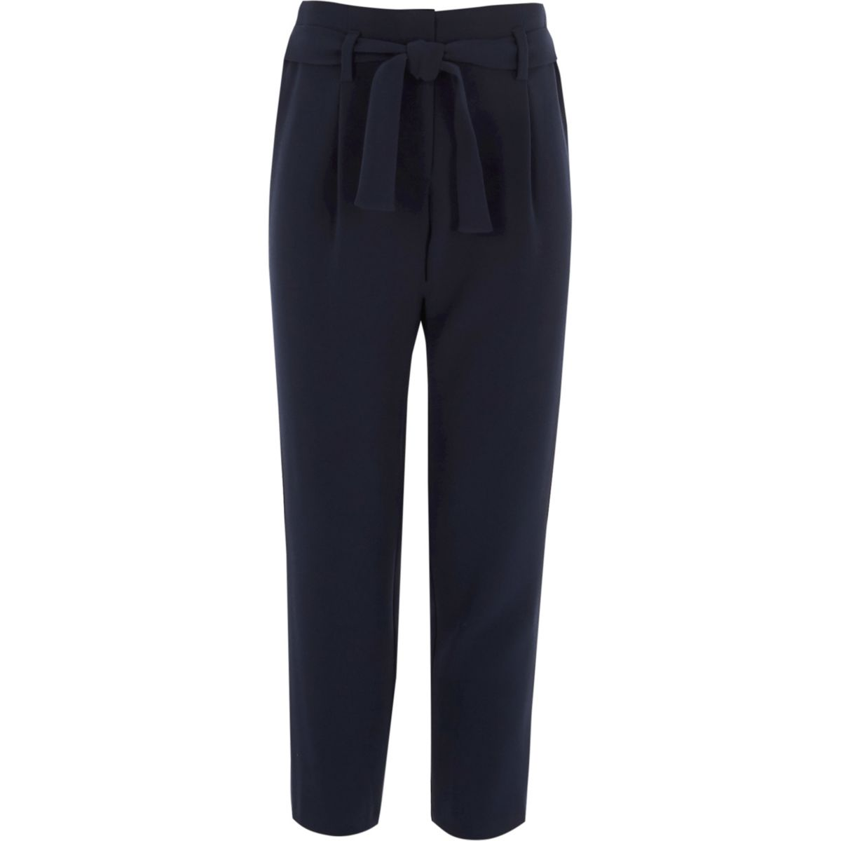 Girls navy tie front pants