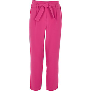 Girls pink tie front pants