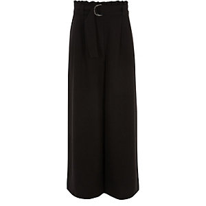 Girls black paperbag waist wide leg pants