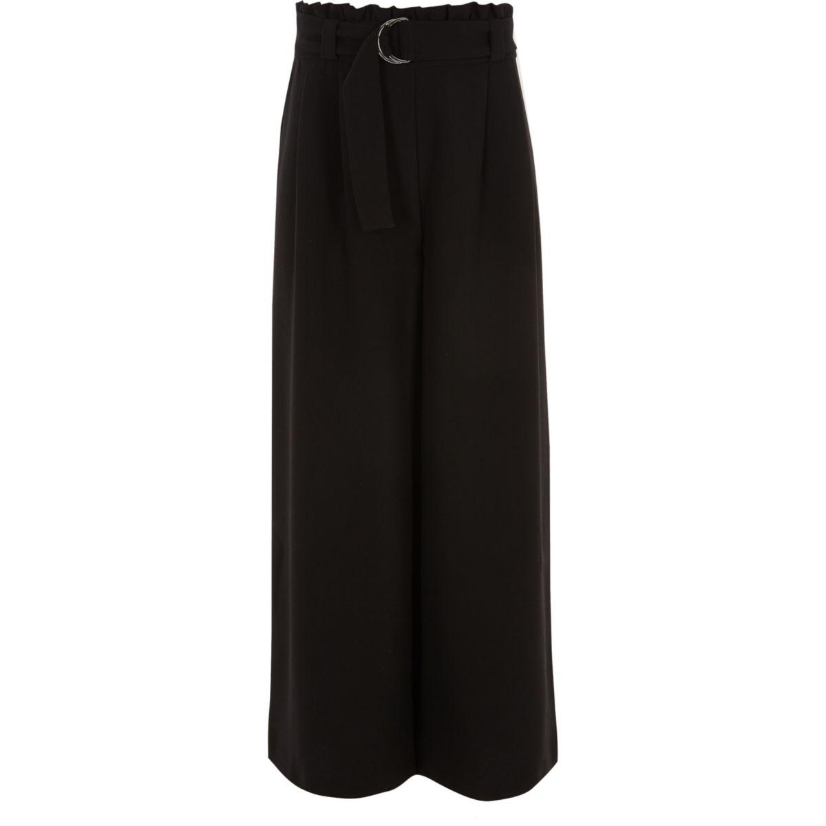 Girls black paperbag waist wide leg trousers