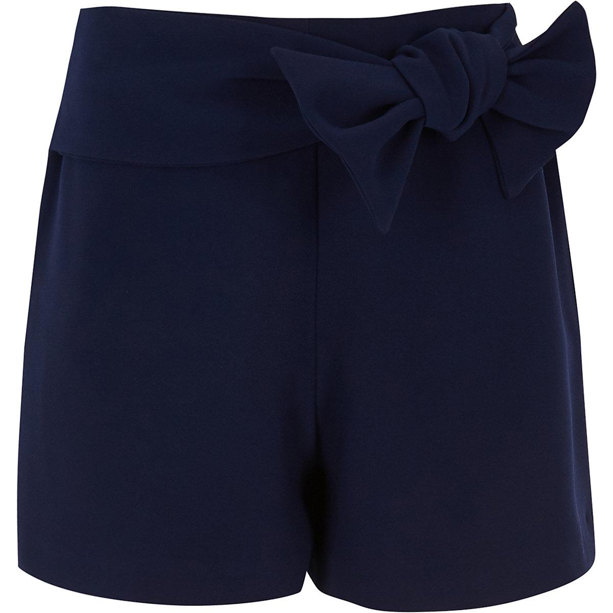 Short bleu marine avec nœud devant pour fille