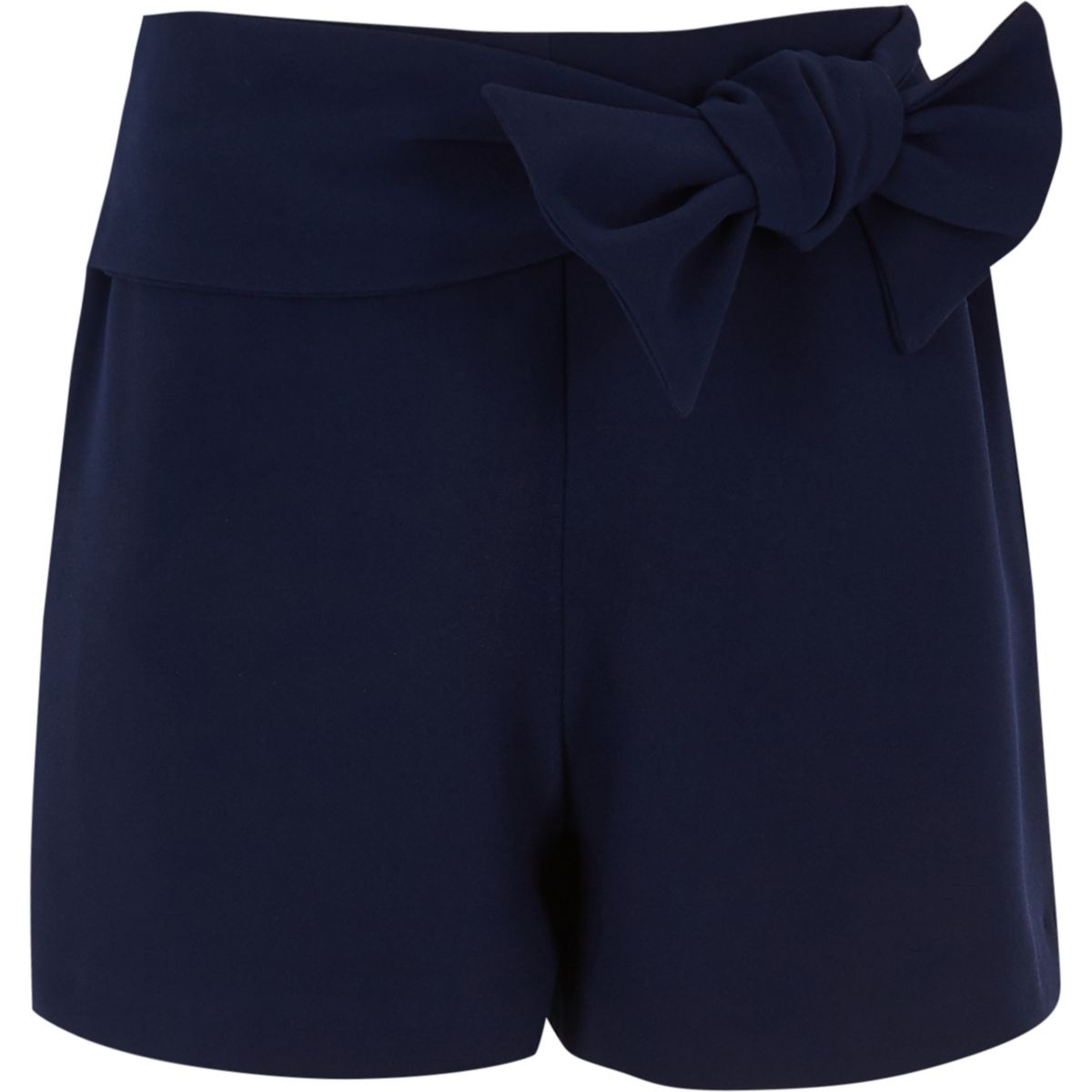 Girls navy bow front shorts