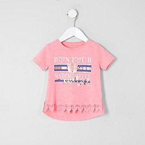 T-shirt rose avec bordure au crochet mini fille
