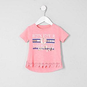 Mini - Roze T-shirt met gehaakte zoom voor meisjes