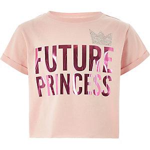 Roze T-shirt met 'future princess'-print voor meisjes
