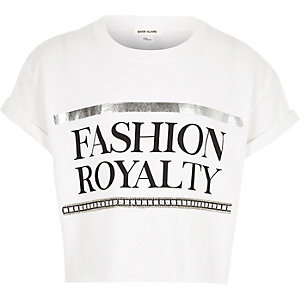 Girls white 'fashion royalty' crop T-shirt